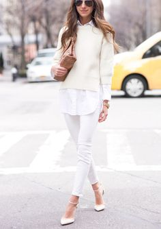 White sweater jeans heels, camel purse. Street fall spring women fashion outfit clothing style apparel @roressclothes closet ideas