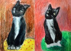 Pet portraits, oil pastel, from pics