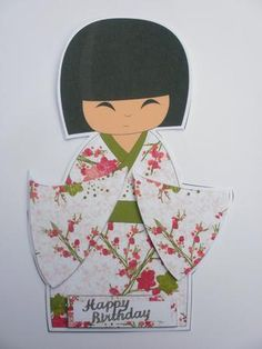 Large Kokeshi Doll Shaped Card on Craftsuprint designed by Wendy Colledge - made by Dawn Jones - A lovely simple card, Just cut out main figure and fold in half. Then cut out sleeves and greeting and decoupage onto figure. - Now available for download!