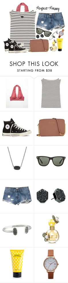 """Day 7: Shopping"" by perfectgabby ❤ liked on Polyvore featuring Free People, Yves Saint Laurent, Converse, Michael Kors, Kendra Scott, Ray-Ban, RVCA, Marc Jacobs, Olivia Burton and graciesspringbreak16"