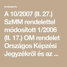A 10/2007 (II. 27.) SzMM rendelettel módosított 1/2006 (II. 17.) OM rendelet Országos Képzési Jegyzékről és az Országos Képzési Jegyzékbe történő felvétel és törlés eljárási rendjéről alapján. Szakképesítés, Math Equations, Free