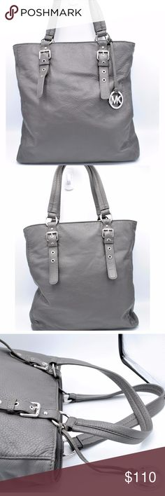 Michael Kors Gray Soft Pebble Leather Zip Tote Beautiful large MK tote bag.  Color is gray.    Pre-owned but very clean inside and out.   Measurements: Height: 16'' Length: 16'' Depth: 3'' Drop: 9'' Michael Kors Bags Totes
