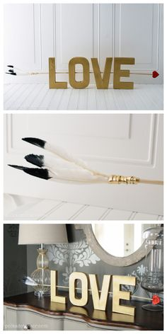 A beautiful gold LOVE sign, just in time for Valentine's Day! #diy #lovesign #decor