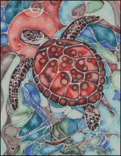 Red Sea Turtle Counted Needle Point and by PaulaHowardPatterns Needlepoint Patterns, Counted Cross Stitch Patterns, Cross Stitch Embroidery, Turtle Quilt, Turtle Crafts, Red Sea, Sea Turtles, Crafty, Quilts