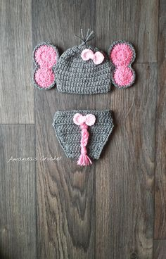Crochet Elephant Hat and Diaper Cover! Perfect for a Newborn Photo Prop session! This cute animal will be oh so adorable for your little one!! This item is MADE TO ORDER with soft 100% acrylic yarn, & available in sizes Newborn, 0-3 Months, 3-6 Months and 6-12 months. Set include Hat and Diaper Cover