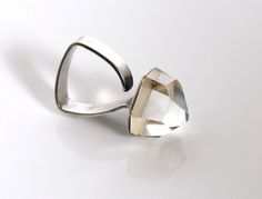 """Rare"" Handmade Original Vintage Ring Designed by Ray URBAN. Sterling Silver  & Faceted Rock Crystal Denmark c.1970 (hva)"