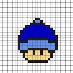 Winter Hat Mushroom Perler Bead Pattern