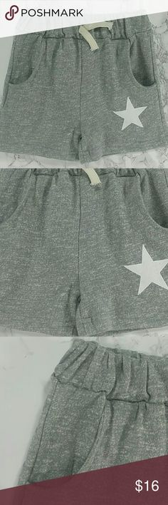 LAST ONE Gray star Shorts. Kids Adorable gray shorts with a white star. Have pockets Pull up style.  This item is brand new and never used. 2412 Bottoms Shorts