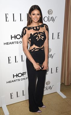Hot, hot! The Vampire Diaries actress sports a daring Zuhair Murad jumpsuit to Elle's Annual Women in Television celebration.
