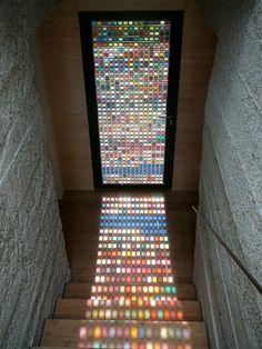 a modern stain glass window / door
