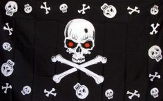 Skull and Crossbones Red Eyes 3'x 5' Pirate Flag