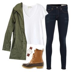 """Chilly outside this morning!"" by carolina-prepster ❤ liked on Polyvore featuring rag & bone, American Vintage, L.L.Bean and Daniel Wellington"