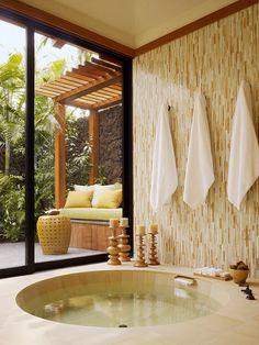 Tranquil Tropical Home Spa Design - 20 Incredibly inspiring tropical bathroom ideas Spa Design, House Design, Design Ideas, Design Inspiration, Bath Design, Tropical Bathroom, Fish Bathroom, Bathroom Tubs, Bathroom Baskets