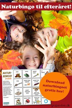 Gratis naturbingo til efteråret! Efteråret i naturen er specielt – det er utroligt smukt med alle efterårsfarverne! I vores naturbingo til efteråret skal man blandt andet finde noget, der er rødt og gult!  Brug rabatkoden: EFTERÅRSSJOV, så kan du downloade naturbingoet helt gratis. Angiv koden i feltet for rabatkode i kassen. #gratis #bingo #naturbingo #grapevine Advertising Strategies, Marketing And Advertising, Craft Activities For Kids, Crafts For Kids, Bingo, Autumn Crafts, Too Cool For School, Teaching Kids, Grape Vines