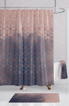Blush Navy Copper Geometric Cube Bathroom Set Extra Long Geometric Shower Curtain with Bath Towel and Bath Mat Save by bundling on a complete bathroom decor set Bathroom Decor Sets, Bathroom Colors, Bathroom Ideas, Bathroom Organization, Bathroom Storage, Bathroom Designs, Bathroom Interior, Bathroom Bin, Bathroom Plans