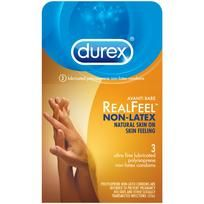 Durex Avanti Bare Real Feel Non-Latex Condoms 3 pack. Made from polyisoprene, Durex Real Feel condoms are engineered to provide a natural skin on skin feeling. Do not use oil based personal lubricants with these condoms. 3 condoms per box.