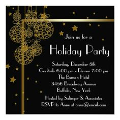 elegant black gold christmas party invitations christmas party invitation template holiday