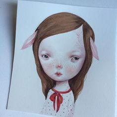 "Another small #watercolor painting ""Abigail"" 14x15 cm.  available for info: dilkabear (at) gmail.com by dilkabear"