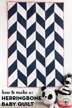 to make a simple Herringbone baby quilt. Fun method that has you make 8 half square triangles at one time.How to make a simple Herringbone baby quilt. Fun method that has you make 8 half square triangles at one time. Free Baby Quilt Patterns, Baby Quilt Tutorials, Quilt Block Patterns, Quilting Tutorials, Quilting Projects, Quilting Designs, Quilting Ideas, Free Pattern, Diy Quilting