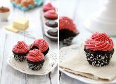 Chocolate Sour Cream Cupcakes with Raspberry Cheesecake Buttercream.