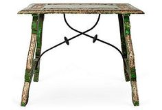 Spanish Green Trestle Table