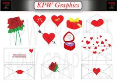 Valentine Clipart Set in PNG format. by KPWgraphics on Etsy Heart With Arrow, Love Words, School Projects, Clip Art, Valentines, Scrapbook, Invitations, Lettering, This Or That Questions