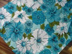 Turquoise Daisies Vintage Towel - Unused Linen Kitchen Tea Towel. $15.00, via Etsy.