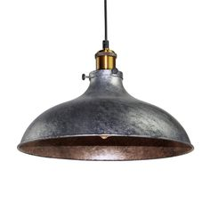 LNC Vintage Industrial Pendant Light Grey Metal Shade Paint Finish Ceiling Lamp ( Bulb Not Included )