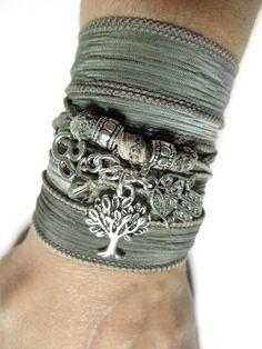 Namaste Tree of Life Wrap Silk Bracelet Bohemian Yoga Bracelet Hamsa Hand Of Fatima Om Spi... $29.99