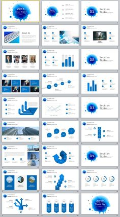 27+ Blue Creative infographics annual PowerPoint Template