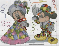 Cross-stitch Mickey & Minnie Carnival, part 1 of 2..  color chart on part 2