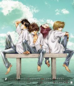 Saiyuki ~~~ With White Shirts and Sitting on an Bench. Yup. They're action stars, indeed.