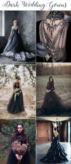 gothic wedding dresses for sale Black Wedding Gowns, Gown Wedding, Wedding Table, Black Gowns, Black Weddings, Wedding Shoes, Wedding Ceremony, Seattle Wedding, Looks Cool