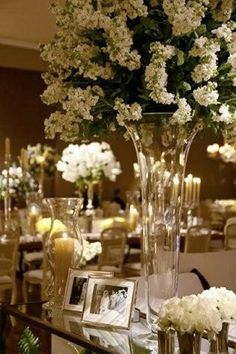 clear vases + white flowers