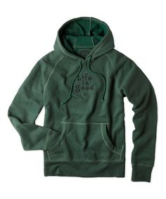 Woodsy Green 'Life Is Good' Softwash Hoodie #zulily #zulilyfinds