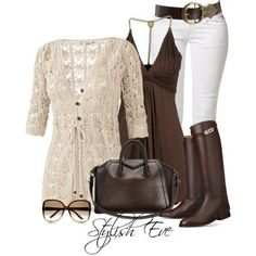 I feel like this would be a great summer evening outfit. The sort of crocheted/knit sweater and the earthy brown top. I haven't worn very many white pants in my life, but I would with this outfit.