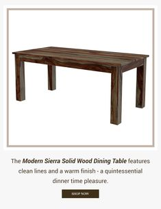 The Modern Sierra Solid Wood Dining Table features clean lines and a warm finish - a quintessential dinner time pleasure. #diningroom #interiordesign #homedecor #interior #diningroomdecor #diningtable #furniture #home #design #decor #kitchen #homedesign #interiors #diningroominspo #furnituredesign #interiordesigner #diningroomdesign #dining #decoration #kitchendesign #table #interiorstyling #customfurniture #largetable #solidwood #diningroomdecor #storagetable #drawer #storagediningtable Dining Table With Storage, Solid Wood Dining Table, Dining Room Table, Hardwood Table, Large Table, Dining Room Design, Custom Furniture, Clean Lines, Interior Styling