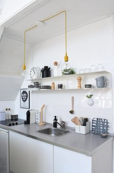 26 Cozy Minimalist Decor Ideas That Will Blow Your Mind - Home Decoration Experts Ikea Kitchen, Kitchen Shelves, Kitchen Decor, Kitchen Cabinets, Kitchen Ideas, Kitchen Walls, Best Kitchen Design, Industrial Kitchen Design, Vintage Industrial