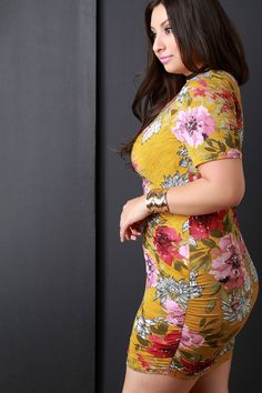 Floral Print Ruched Zip-Up Front Bodycon Dress