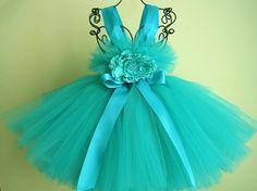 Tutu Dress, DREAMY TEAL GREEN, Bit of Fluff Top, Babies 3-24 Months | ElsaSieron - Clothing on ArtFire