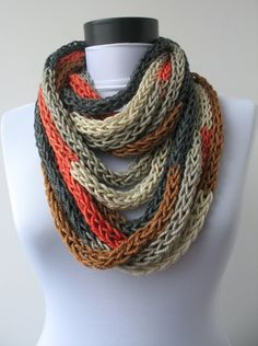 Scarf necklace-loop scarf-infinity scarf-neck warmer-hand knitted-cashmere-in oringe,grey,brown and beige. $48.00, via Etsy.