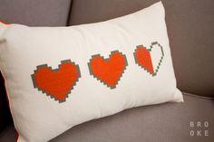The Legend of Zelda Life Meter Hearts Pillow <3