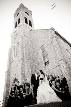 Bridal party outside church  http://markhawkinsphoto.com