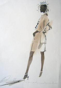David Downton | Chanel - Alek Wek, 1999 Brilliant!