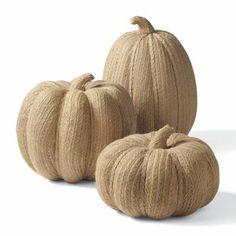 Set of Three Burlap Pumpkins