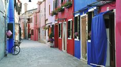 Picture of Colorful buildings in Burano island street in Venetian lagoon, Italy stock photo, images and stock photography. Wallpaper 2016, Colourful Buildings, Venetian, Great Rooms, Background Images, Playground, Spotlight, Wall Decals, Windows