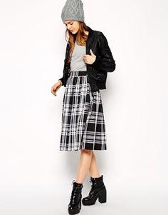 ASOS Midi Skirt in Plaid Print - Black/white