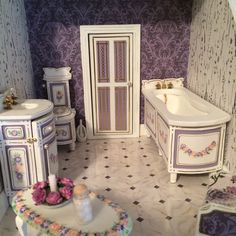 A Brand new 100% handmade, hand painted Miniature Dollshouse 3 Piece Bathroom Suite Custom Made to Order in a variety of colours to match your mini decor, ready for posting within 4 weeks