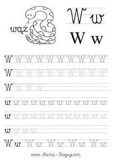 SZABLONY DO NAUKI PISANIA LITER - LITERKI M - Z - Mama Bloguje Tracing Worksheets, Alphabet Worksheets, Kindergarten Worksheets, Handwritten Letters, Cursive, Polish Alphabet, Teacher Inspiration, Toddler Learning, Kids Writing