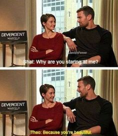 Cute divergent interview. Btw... That line is said in the fault in our stars!!!